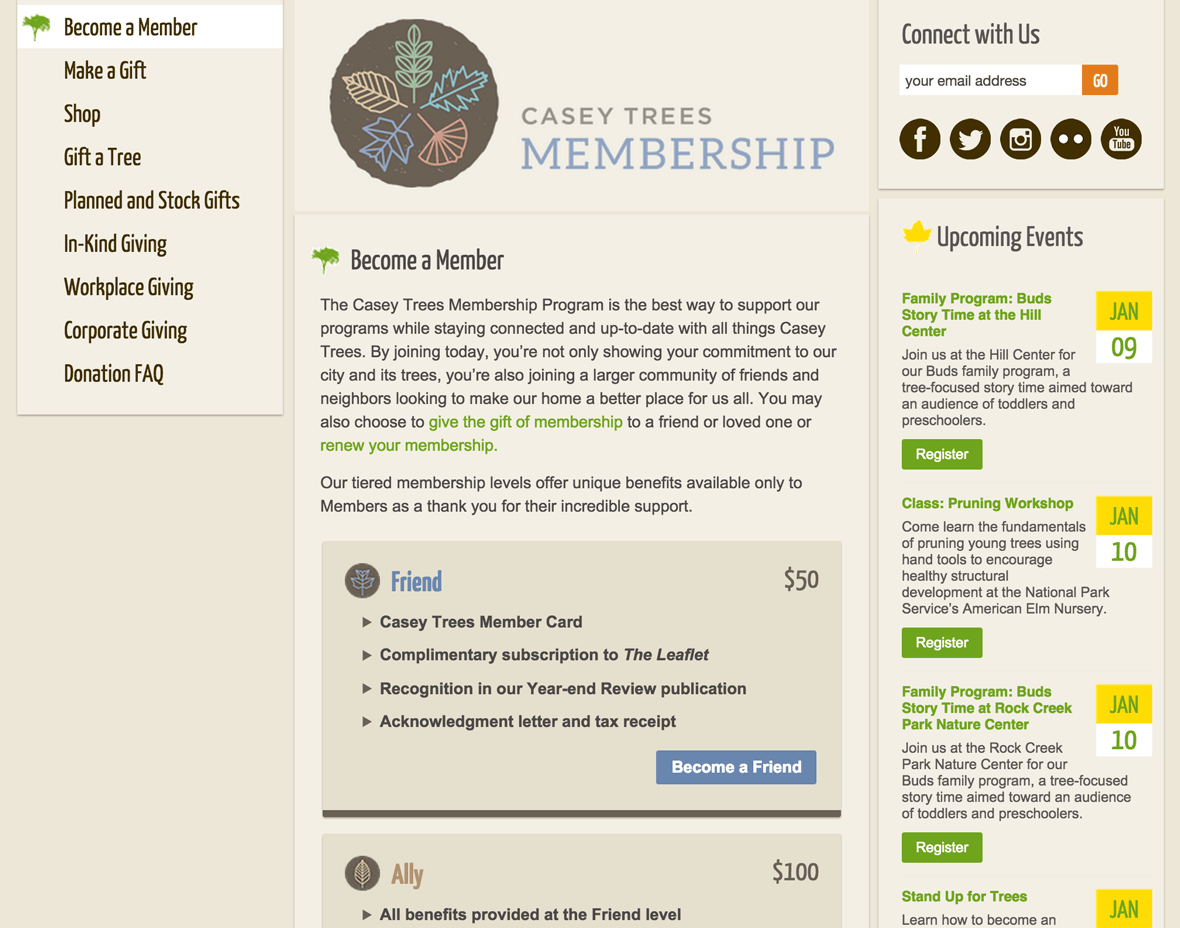 Screenshot: membership page on a MacBook Pro December 2014