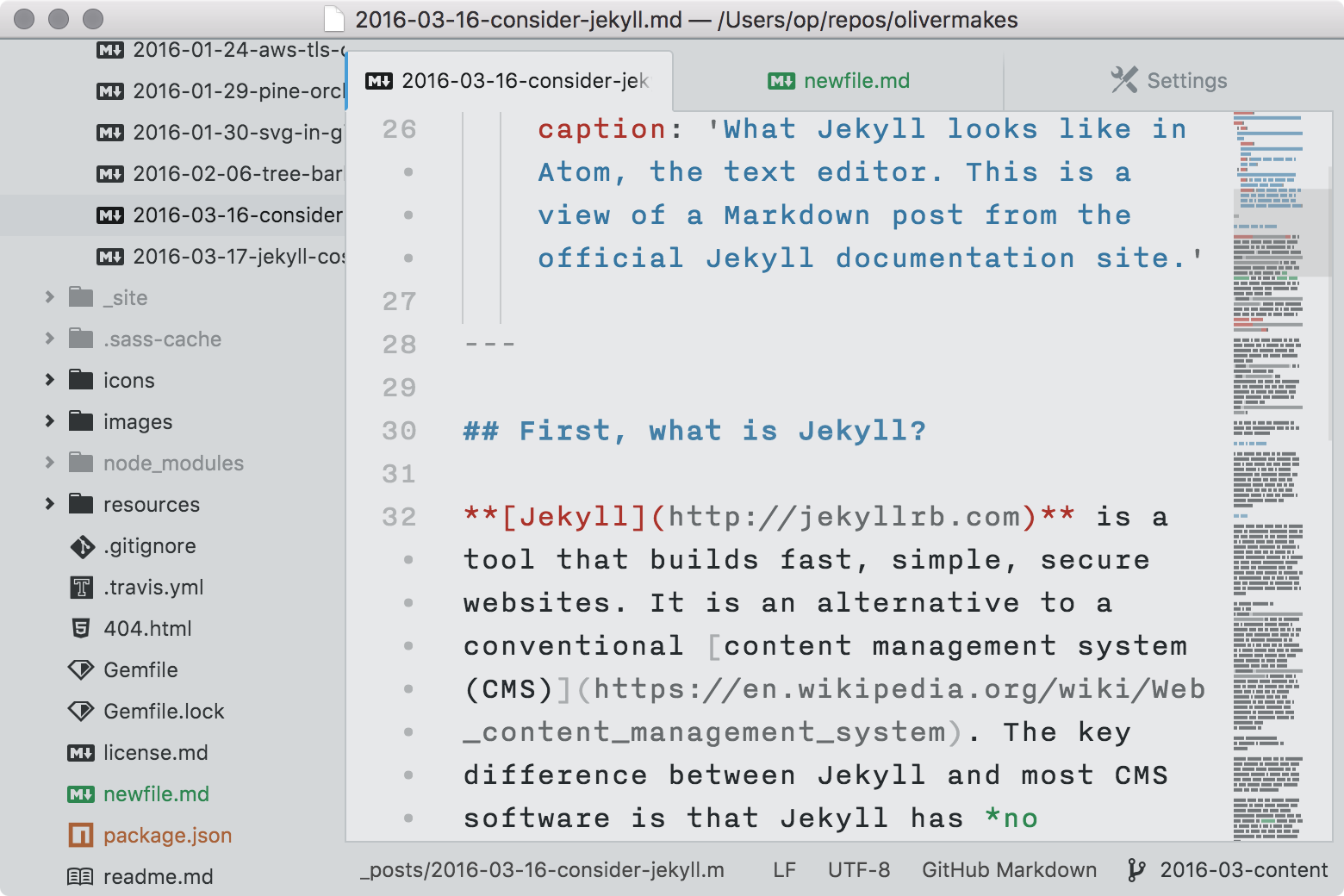 sample of newbound light in Atom with a markdown file