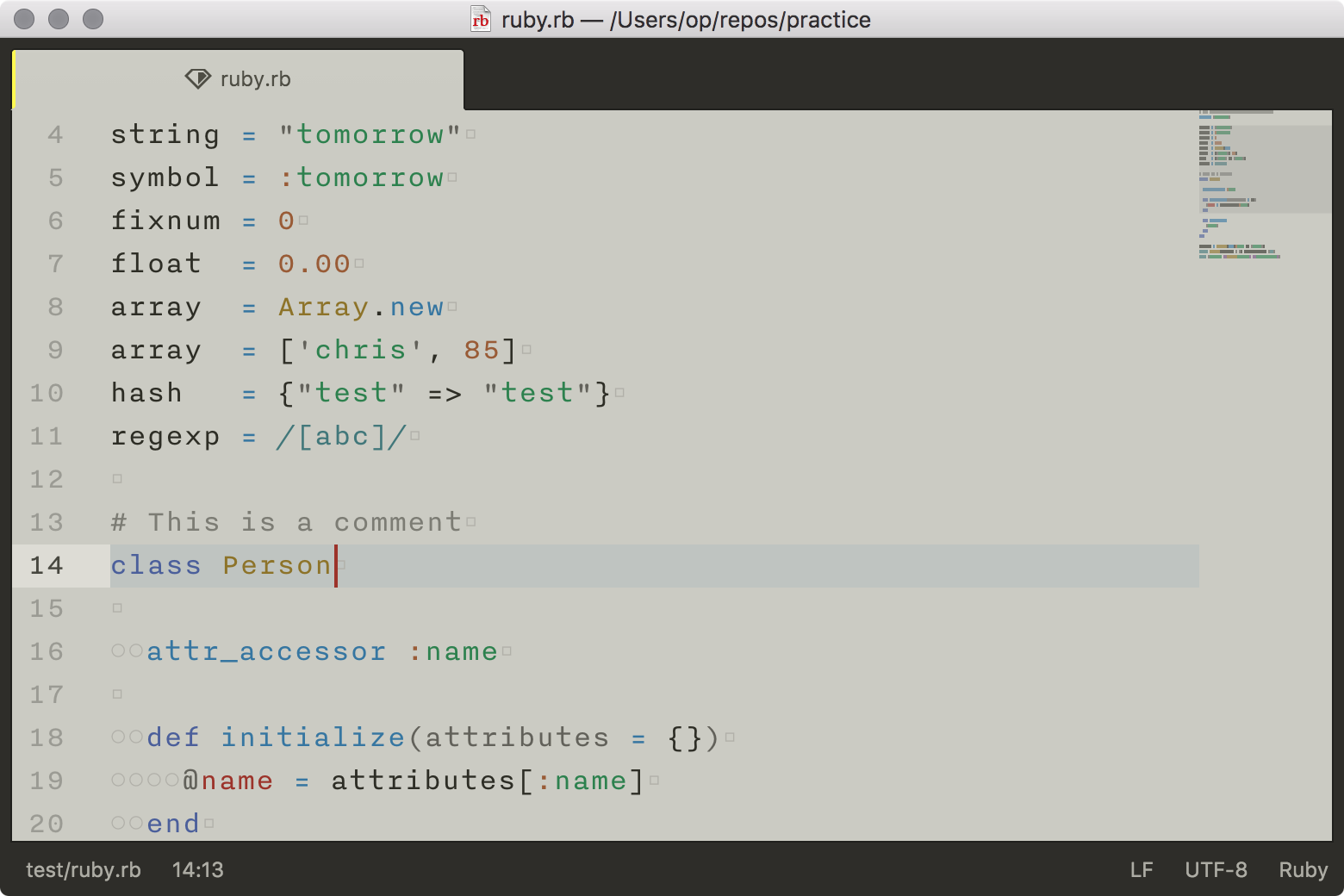 sample of newbound warm in Atom with a Ruby file